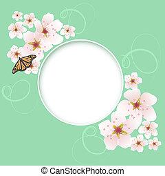 primavera, augurio, vettore, ciliegia, fiori, scheda