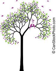 primavera, aves, vector, amor, árbol