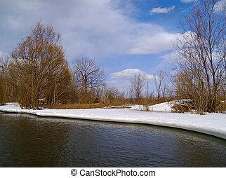 primavera, banca fiume