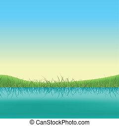 primavera, bandeira, lago