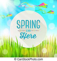 primavera, bandeira, saudação, redondo