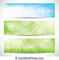 primavera, bandeiras, jogo