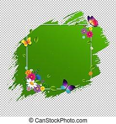 primavera, bandera, con, flor, aislado
