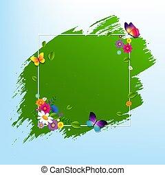 primavera, bandera, con, flor
