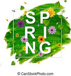 primavera, bandiera, con, fiore