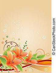 primavera, bege, quadro, com, lírios, e, abstratos, elementos