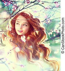 primavera, belleza, niña, con, largo, rojo, soplar, pelo, aire libre