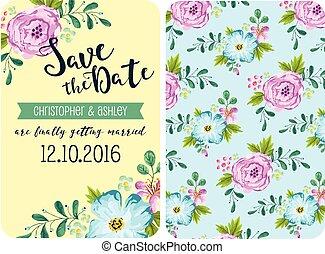 primavera, boda, flor, invitación