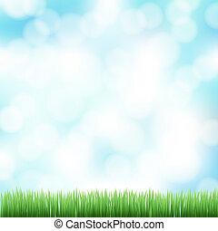 primavera, bokeh, erba, sfondo verde