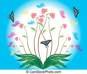 primavera, borboletas, flor, fundo