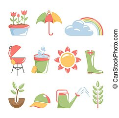 primavera, branca, isolado, ícones