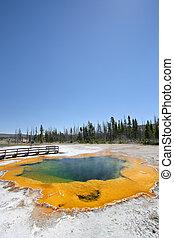 primavera, -, caldo, yellowstone, piscina smeraldo