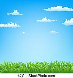 primavera, capim, nuvens, fundo