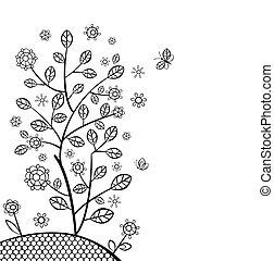 primavera, cartão, com, decorativo, árvore