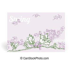 primavera, cartão, com, flores