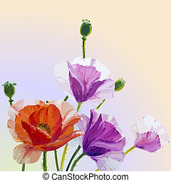 primavera, cartão, com, papoulas, flores