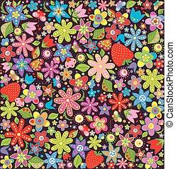 primavera, carta da parati, con, fiori