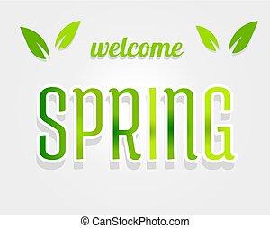 primavera, cartas, verde, bienvenida