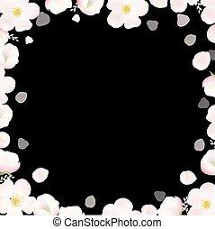 primavera, cartaz, com, macieira, flores