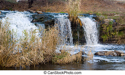 primavera, cascada, natural