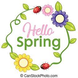 primavera, ciao, lettera, testo