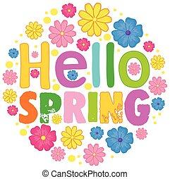primavera, ciao, sagoma, testo