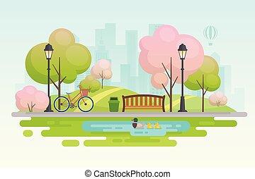 primavera, città, park.
