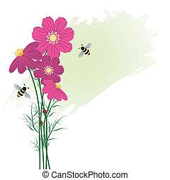 primavera, colorido, flor, con, abeja
