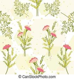 primavera, colorido, flor, con, hierba, plano de fondo