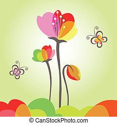 primavera, colorido, flor, con, mariposa