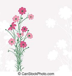 primavera, colorido, flor, en, fondo rosa