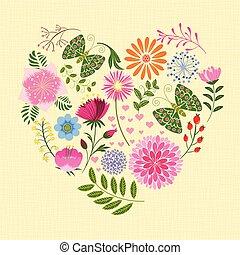 primavera, colorido, flor, y, mariposa, en, forma corazón
