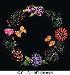 primavera, colorido, flor, y, mariposa