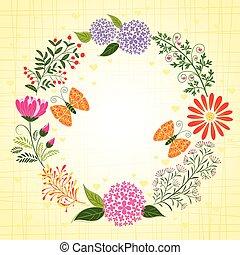 primavera, colorido, flor, y, mariposa, plano de fondo
