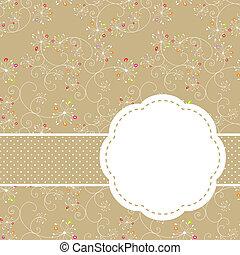 primavera, colorido, floral, seamless, patrón, tarjeta de felicitación