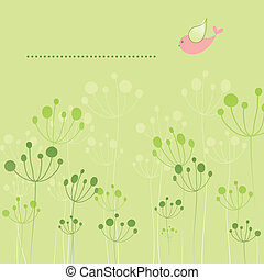 primavera, colorido, pájaro, floral