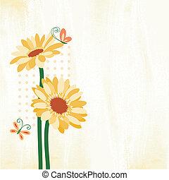 primavera, colorito, margherita, fiore, con, farfalla