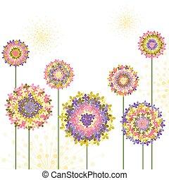 primavera, colorito, ortensia, fiore, fondo