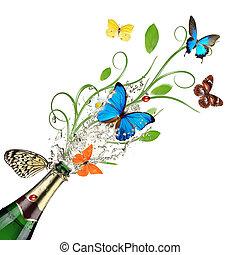 primavera, comming, theme., celebração