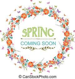 primavera, con, flor, y, mariposas