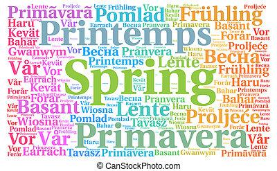 primavera, concepto, palabra, nube