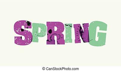 primavera, concetto, bollato, parola, arte, illustrazione