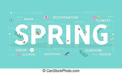 primavera, concetto, illustration.