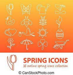 primavera, contorno, iconos
