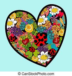 primavera, coração, amor, vibrante