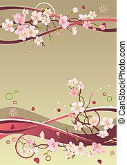 primavera, cornice, con, cuori, rami, e, astratto, elementi
