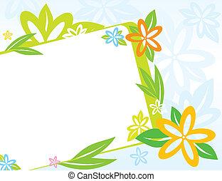 primavera, cornice, fiori