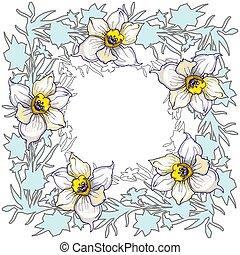 primavera, cornice, mano, tromboni, floreale, disegnato, fiori, rotondo