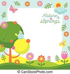 primavera, cornice, stagione, icone