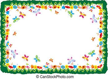 primavera, cornice, vettore, illustrazione